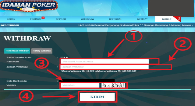 formulir withdraw poker online